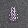 Three-Strand, Fluted, Rectangular Silver-Plated Tube Slide Clasp