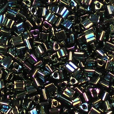 TG11-0084 Metallic Olive Iris - Toho 11/0 Triangle Beads