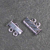 Two-Strand, Fluted, Rectangular Silver-Plated Tube Slide Clasp