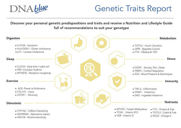 DNA Blue Genetic Traits cheek swab report