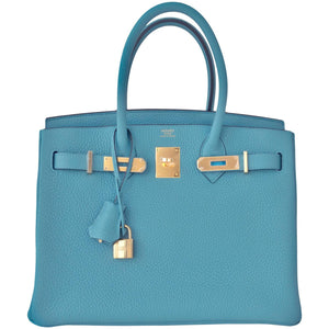 Hermes Blue Saint Cyr 30cm Birkin Gold GHW Satchel Bag Robin Egg Blue