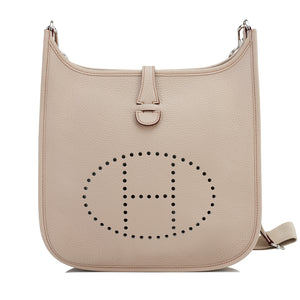 Hermes Grege Pale Beige Evelyne PM Cross-Body Messenger Bag Chic