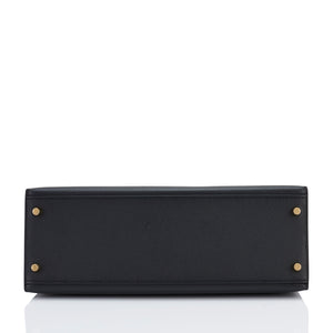 Hermes Black 32cm Epsom Sellier Kelly Gold Hardware