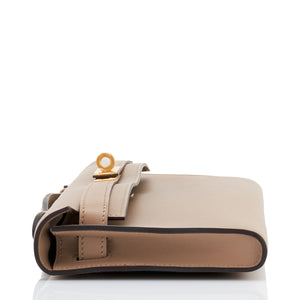 Hermes Gris Asphalt Kelly Cut Pochette Clutch Swift Gold Hardware