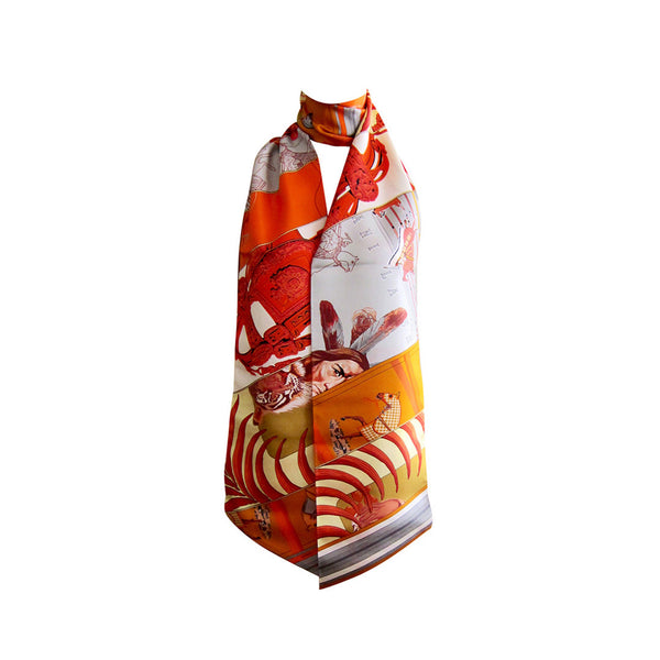 Hermes Carre En Carres Maxi Twilly Orange Grey Jaune