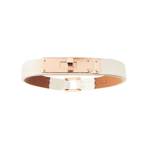 Hermes Craie Swift Rose Gold Micro Kelly Leather Bracelet Medium