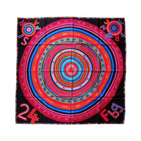 Hermes Black Multi-Color Tohu Bohu Silk Carre Scarf 90cm Grail