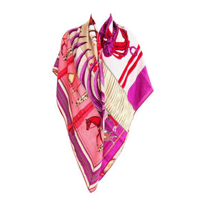 Hermes Carre en Carres Cashmere Silk Shawl Pink Purple GM Gorgeous