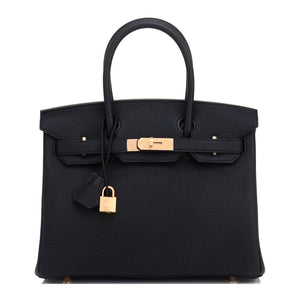 Hermes Black Birkin 30 Togo Rose Gold Hardware