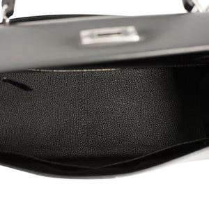 Hermes Black Box Kelly 28cm Sellier Palladium Hardware X