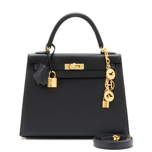 Hermes Kelly 25cm Black Epsom Sellier Gold Jewel D Stamp, 2019