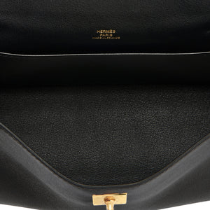 Hermes Kelly Pochette Black Swift Gold Hardware Clutch Cut Bag