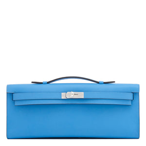 Hermes Blue Paradise Kelly Cut Clutch Bag