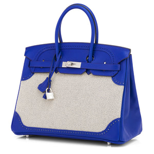 Blue Sapphire Ghillies 35cm Swift Criss Cross Toile Birkin Palladium Hardware