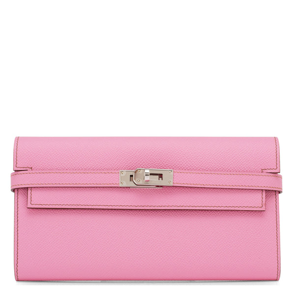 Hermes Bubblegum 5P Pink Epsom Kelly Wallet Clutch Palladium Hardware