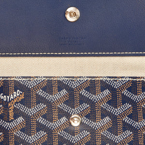 Goyard Bleu Marine Navy Blue St Louis GM Chevron Tote Bag