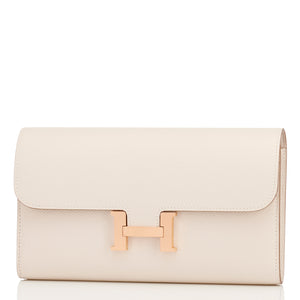 Hermes Craie Constance Wallet Clutch Rose Gold Hardware