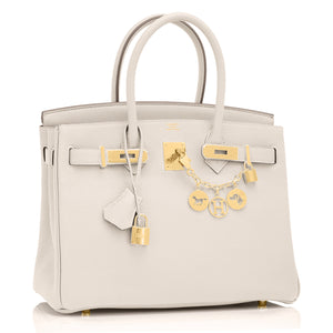 Hermes Craie Off White Chalk 30cm Birkin Gold Hardware