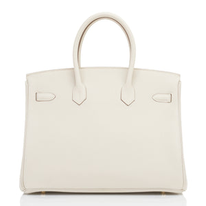Hermes Craie 35cm Birkin Togo Rose Gold Hardware Chalk Off White Y Stamp, 2020