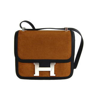 Hermes Alezan Doblis Black Swift Constance Double Gusset MM Bag