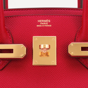 Hermes Rouge Casaque 30cm Birkin Red Epsom Gold Hardware