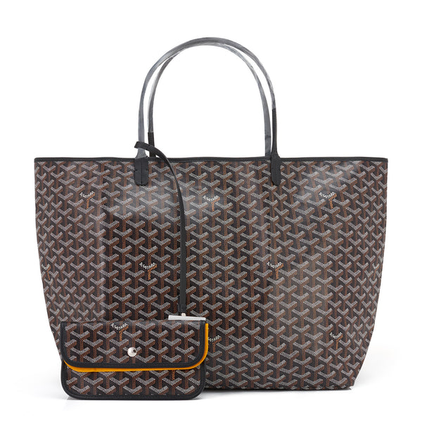 Goyard Black St Louis Tote GM Chevron Bag