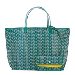 Goyard Green St Louis GM Chevron Tote Bag