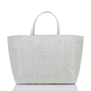 Goyard White St Louis Tote GM Chevron Bag