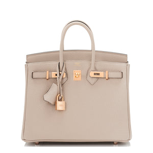 Hermes Gris Tourterelle Birkin 25cm Togo Bag Rose Gold Hardware