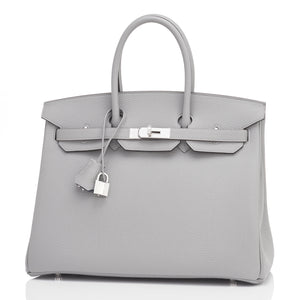 "Hermes Gris Mouette 35cm Togo Birkin Blue Agate ""Verso"" Limited Edition"