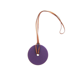 Hermes Iris Togo Gold Epsom Reversible Leather Pendant Necklace