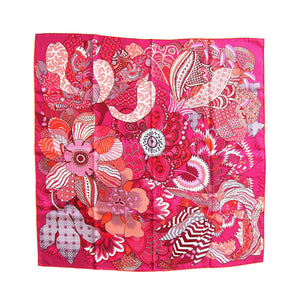 Hermes Fleurs d'Indiennes Pink Silk Scarf 90cm Carre Coveted