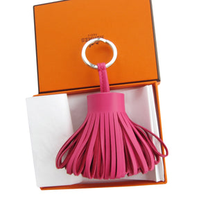 Hermes Rose Shocking Pink Leather Carmen Key Ring / Bag Charm