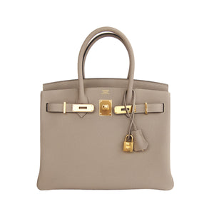 Hermes Gris Tourterelle Togo Gold 30cm Birkin Dove Grey Treasure