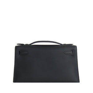 Fashionista Fave Hermes Black Gold Swift Kelly Pochette Cut Clutch Bag