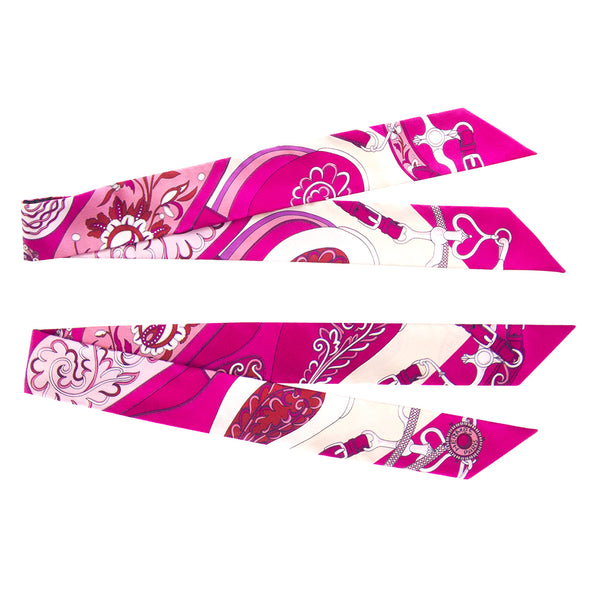 Hermes Festival des Amazones Pink Silk Twilly Twillies Pair Scarf