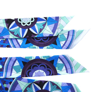 Hermes Floral Geometric Green Blue Purple Silk Twilly Scarf Set Twillies