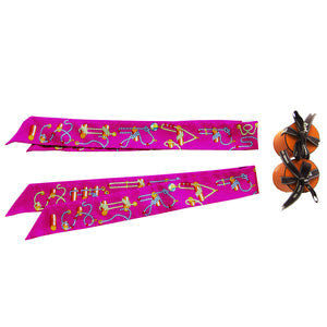 Hermes Fuchsia Cordages Silk Twilly Set Twillies Scarf Sold Out Color