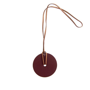 Hermes White Rouge H Reversible Barenia Leather Pendant Necklace