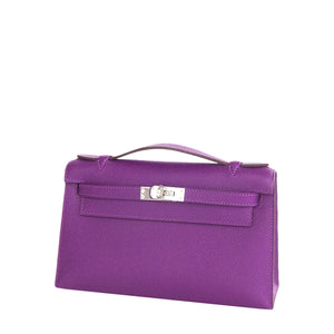 Hermes Anemone Palladium Kelly Pochette Epsom PHW Clutch Cut Bag Love