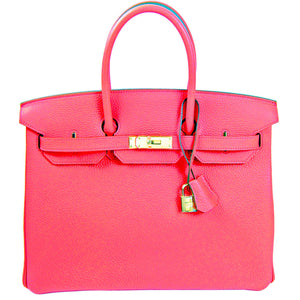 Hermes Rose Jaipur 35cm Birkin Gold Hardware GHW GLOWING