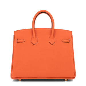 Hermes Orange Birkin 25cm Togo Gold Hardware