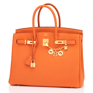 Hermes Classic Orange Birkin 35cm Togo Gold Hardware