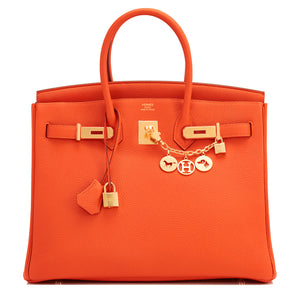 Hermes Orange 35cm Birkin Gold Hardware