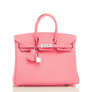 Hermes Rose Eté Birkin 25cm Swift Palladium Hardware