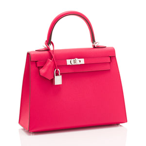 Hermes Kelly 25 Rose Extreme Pink Epsom Sellier Bag Palladium