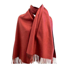 Hermes Rouge H Double Faced Cashmere Stole Scarf Unisex