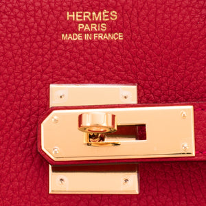 Hermes Rouge Casaque Lipstick Red 35cm Clemence Birkin Bag Gold Hardware