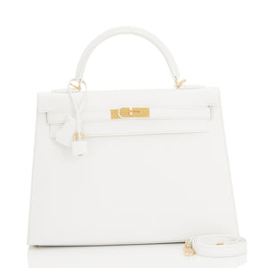 Hermes White Kelly 32cm Sellier Gold Hardware