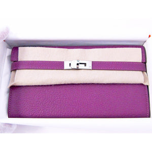 Hermes Anemone Chevre Kelly Long Wallet PHW